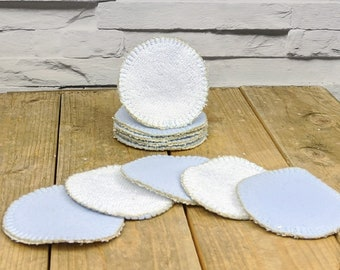 Reusable Make Up Remover Pads.  Pack of 5 handmade dual sided round organic bamboo and cotton cleansing pads. For beauty and family care