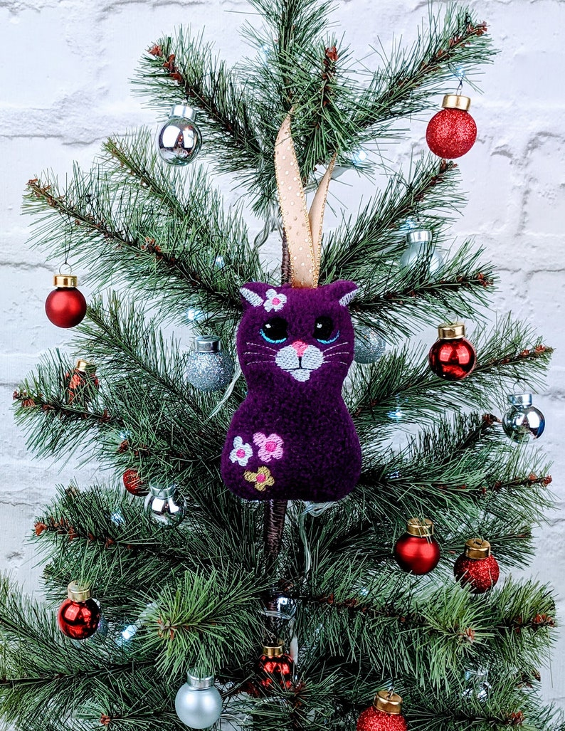 Cat Christmas Tree Decoration Handmade Purple Cat In Fleece With Flowers Cat Tree Trimming Ornament Adornment Lightly Filled