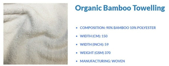 90/% Bamboo 10/%, Polyester White Bamboo Towelling 0.5m by 1.5m