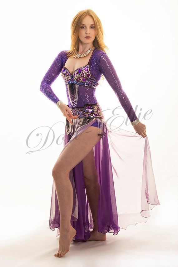 PURPLE WITH GOLD SPARKLES 4 WAY SHEER STRETCH NET POWER MESH BODYSTOCKING FABRIC