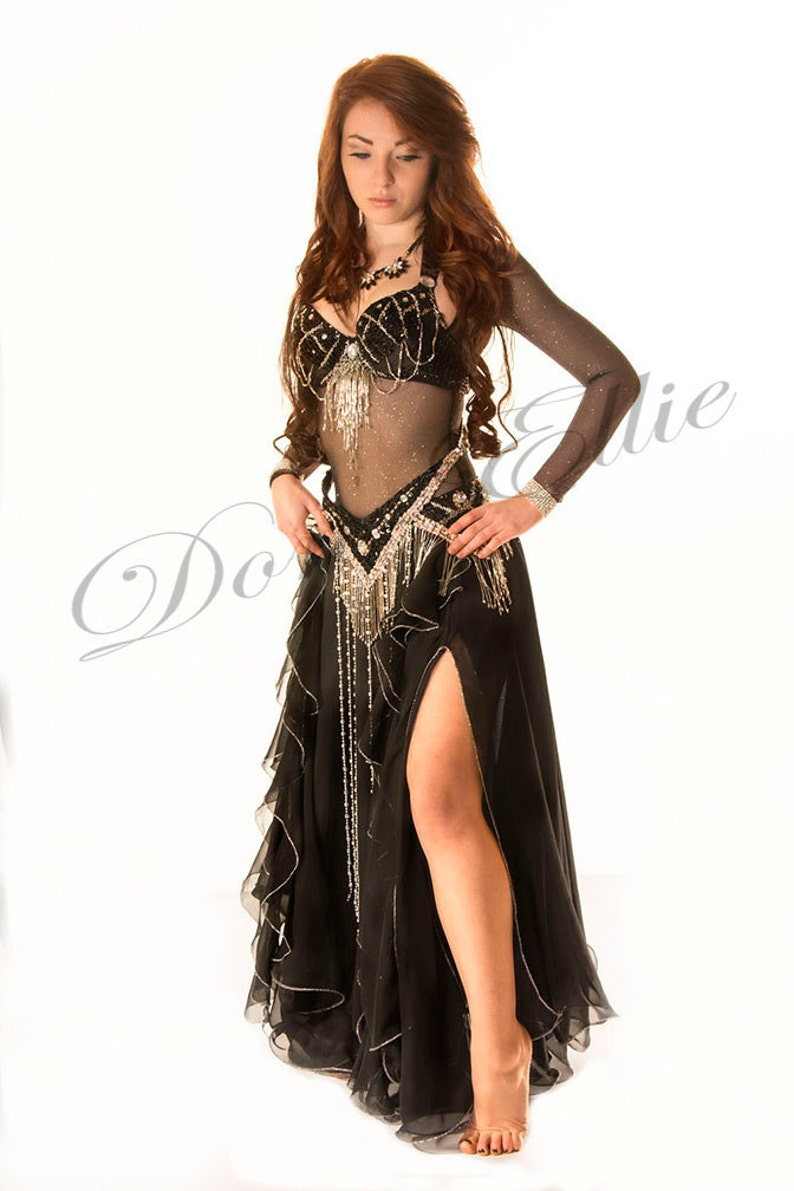59455c1200f Under Bust SLEEVED Belly Dance Black Stretch Mesh with Sparkly