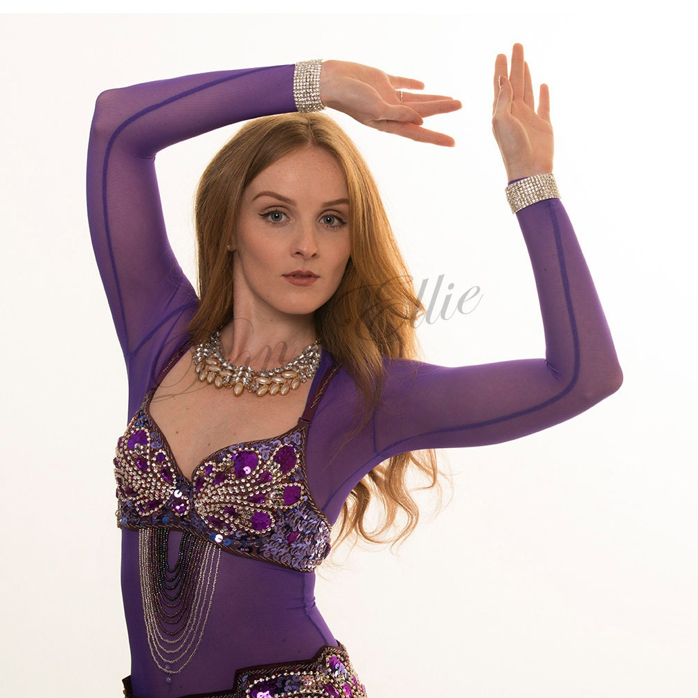214ada8f0 Purple Under Bust SLEEVED Belly Dance Body Stocking Midriff