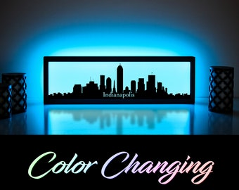 Indianapolis Skyline, Indianapolis Art, Indianapolis Skyline Art, City Skyline, Light Up Sign, City Skyline Art, Skyline Wall Art, LED Sign