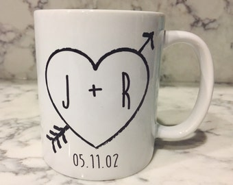 Wedding Initials Personalized Coffee Mug, Wedding Gift