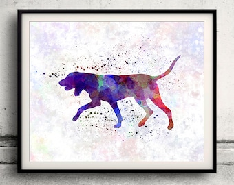 Black and Tan Coonhound 01 in watercolor - Fine Art Print Poster Decor Home Watercolor Illustration Dog - SKU 2011