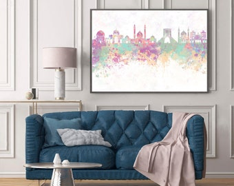 Tehran skyline in watercolor background - Poster Digital Wall art Illustration Print Art Decorative - SKU 1424