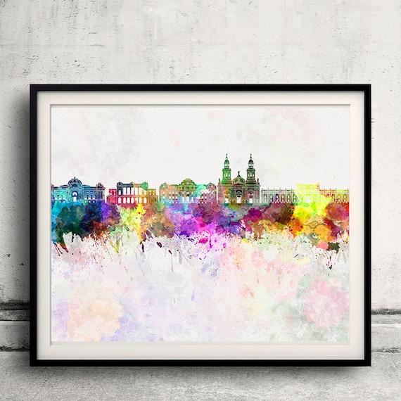 Santiago de Chile horizonte en fondo de acuarela - Cartel pared digital arte Ilustración impresión arte decorativo - SKU 1422