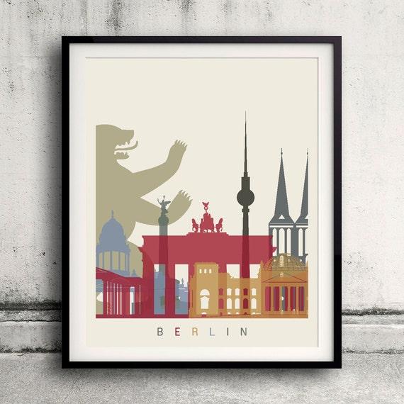 Berlin Skyline Poster 8x10 In To 12x16 In Fine Art Print Glicee Poster Gift Illustration Artistic Colorful Landmarks Sku 1130