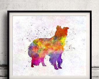 Border Collie 01 in watercolor - Fine Art Print Poster Decor Home Watercolor Illustration Dog - SKU 1486