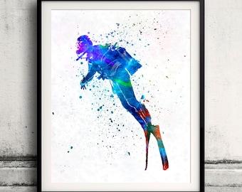 Man scuba diver 02 in watercolor - poster watercolor wall art splatter sport illustration print Glicée artistic - SKU 2084