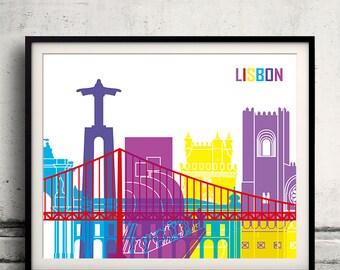 Lisbon pop art skyline 8x10 in. to 12x16 in. Fine Art Print Glicee Poster Gift Illustration Pop Art Colorful Landmarks - SKU 0697