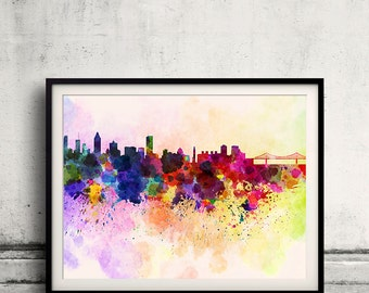 Montreal skyline in watercolor background 8x10 in. to 12x16 in. Poster Digital Wall art Illustration Print Art Decorative  - SKU 0039
