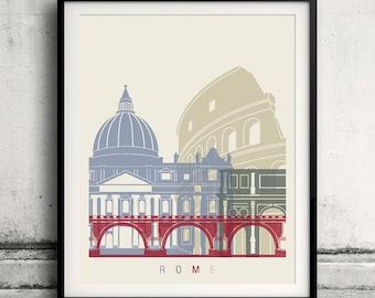 Rome skyline poster - Fine Art Print Landmarks skyline Poster Gift Illustration Artistic Colorful Landmarks - SKU 1846
