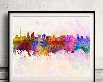 Baku skyline in watercolor background - Poster Digital Wall art Illustration Print Art Decorative - SKU 1397