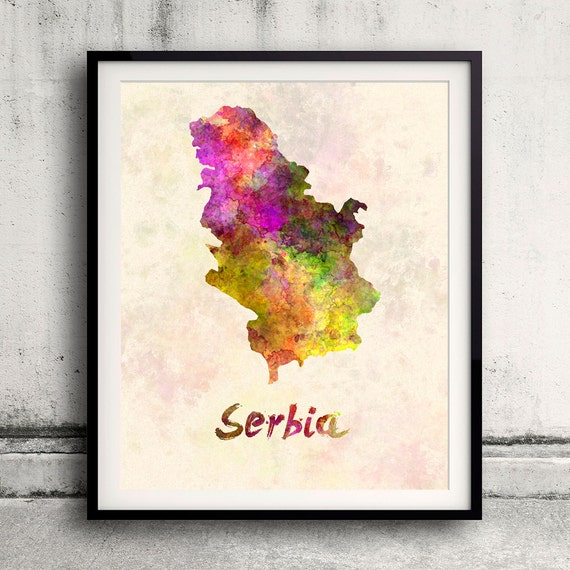 Serbia and Kosovo - Map in watercolor - Fine Art Print Glicee Poster Decor  Home Gift Illustration Wall Art Countries Colorful - SKU 1706