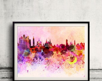 Moscow skyline in watercolor background 8x10 in. to 12x16 in. Poster Digital Wall art Illustration Print Art Decorative  - SKU 0021