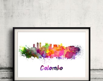 Colombo skyline in watercolor over white background with name of city - Poster Wall art Illustration Print - SKU 1571