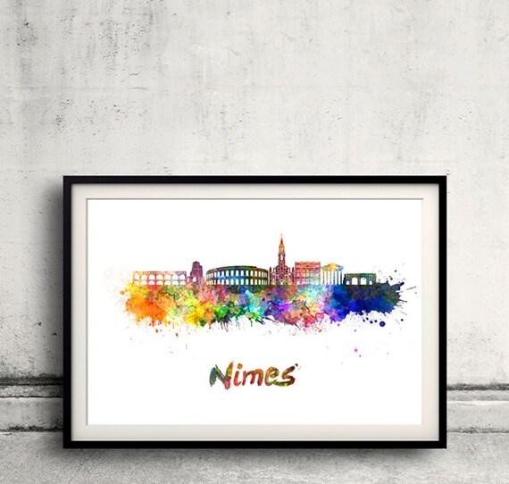 Nimes horizonte en acuarela sobre fondo blanco con el nombre de la ciudad - Cartel de la pared arte ilustración impresión - SKU 1884
