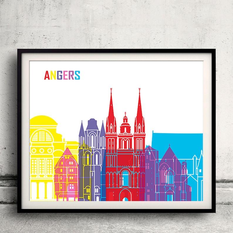 to 12x16 in Fine Art Print Glicee Poster Gift Illustration Pop Art Colorful Landmarks Angers skyline pop 8x10 in SKU 1200
