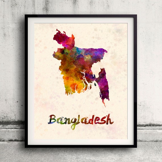 Bangladesh - Map in watercolor - Fine Art Print Glicee Poster Decor Home  Gift Illustration Wall Art Countries Colorful - SKU 1811