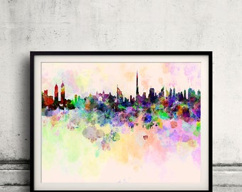 Dubai skyline in watercolor background 8x10 in. to 12x16 in. Poster Digital Wall art Illustration Print Art Wall Decorative  - SKU 0003