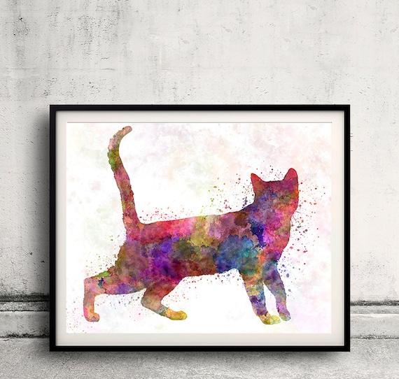 Bengal cat in watercolor - Fine Art Print Poster Decor Home Watercolor Illustration Dog - SKU 2936
