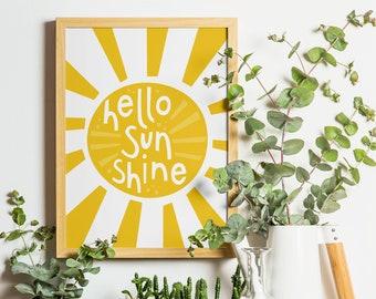 Hello Sunshine Printable Wall Art - Sunburst Boho Dorm Decor, Sunshine Nursery, Bedroom Wall Art, Room Decor for Teen Girls, Digital 8x10