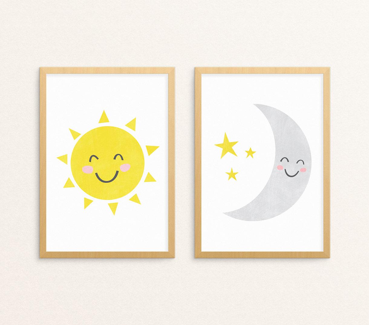 Sun and Moon Print Set of 2 Printable Wall Art Celestial   Etsy