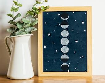 Instant Download! Moon Phase Print for Celestial Decor - Moon Phases Art, Celestial Wall Art, Starry Night Sky Printable Art, Home Decor