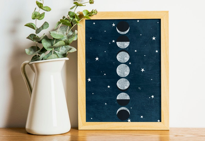 Moon Phase Print for College Dorm Decor  Celestial Wall Art image 0