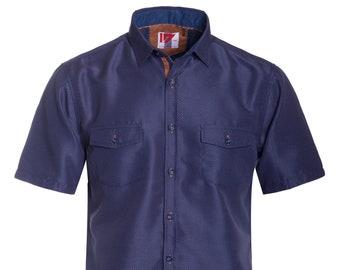 New Mens ID Extra Slim Short Sleeve Button Up Teal Shirt Green Blue Fish Pocket