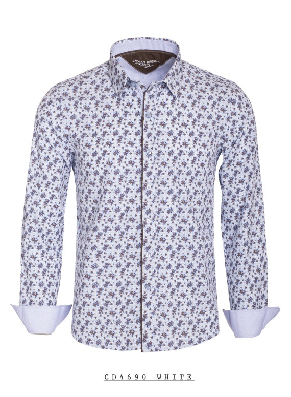New Mens Caviar Dremes Long Sleeve Button Down Fitted Dress Shirt White With Brown Flowers Silky Texture CD 4690