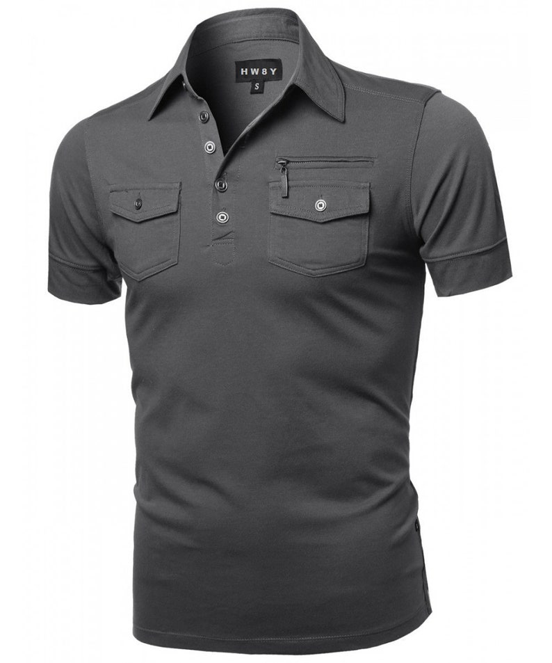 c0a24428d New Mens HW8Y Short Sleeve Slim Fit Button Up polo Shirt Solid