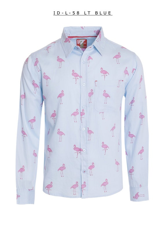 New Mens ID Extra Slim Fit Long Sleeve Button Down Dress Shirt Light Blue With Pink Flamingo Polka Dot Pattern Front Pocket ID 58