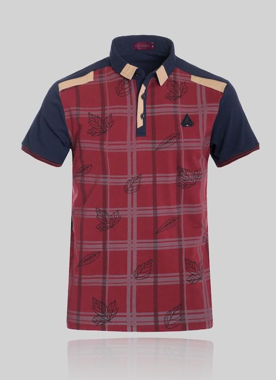 New Mens Short Sleeve Polo Shirt Slim Fit Black Gold Chest Strike Pattern Cotton