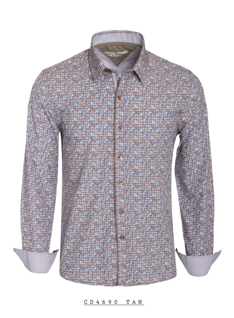 New Mens Caviar Dremes Long Sleeve Button Down Fitted Dress Shirt Tan Brown With Blue Flowers Silky Texture CD-4690