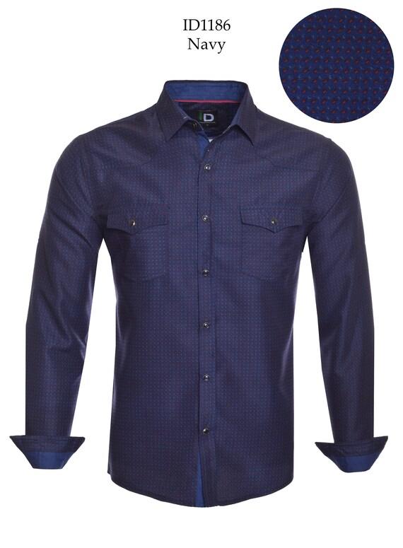 Nouveau ID pour homme à manches longues bouton vers le bas de la robe chemise bleu marine avec tige gris rouge à pois sur le devant poches boutons pression bleu ID-1186