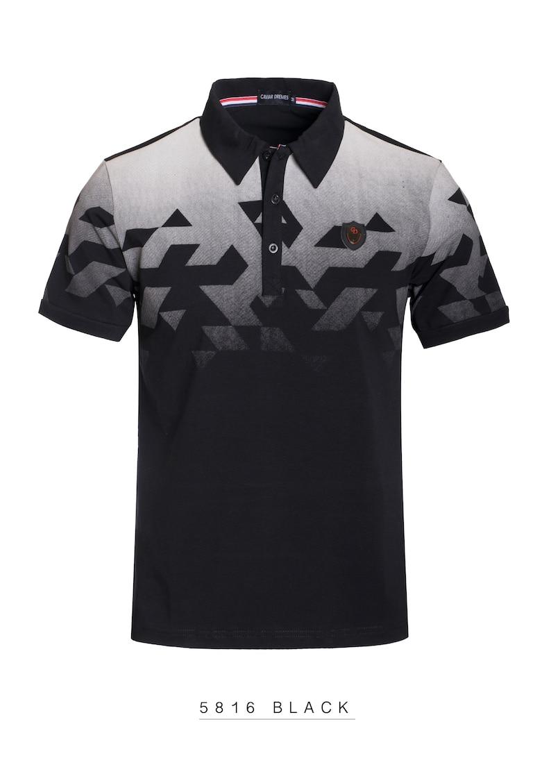 New Mens X-Large Caviar Dremes Short Sleeve Polo Shirt Slim Fit Black With White Fade Tetris Design Cotton Stretch Fabric