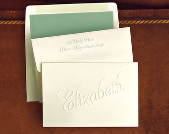 more colors 25 embossed notes personalized - Personalized Embossed Note Cards