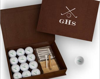 Personalized Golf Balls with Personalized Display Case - Monogram, Name or Initials - Golf Gift - 3599