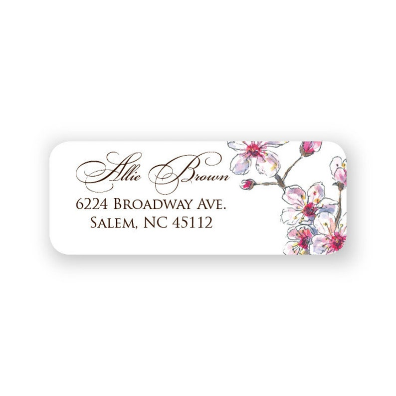 Cherry Blossom Return Address Labels  90 Labels with Printed Storage Tin  9473
