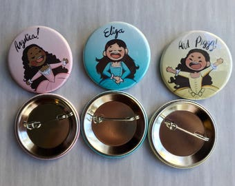 Aesthetic buttons set, Schuyler Sisters, Hamilton, 1x3/4 inch aesthetic Buttons Art you can take with you