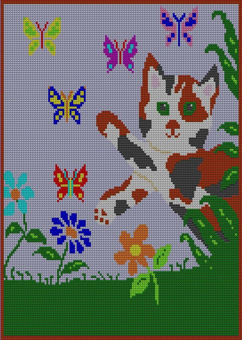 Pdf Kitty Butterfly Afghan Pattern Tunisian Crochet Color Etsy