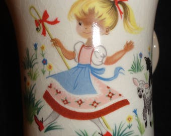Childs cup , Old Foley by James Kent,England,Girl with lambs cup-excellent condition.