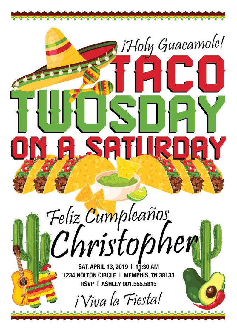 Taco TWOsday Party Invitation For A 2 Year Old Birthday