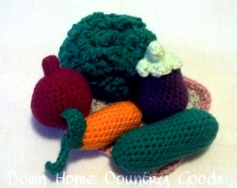 Veggies w/ Tray - Crochet - Amigurumi - Pretend Play - Toddler Toys - Plush Toys - Learning Toys - Vegetables - Carrot - Eggplant - Gifts