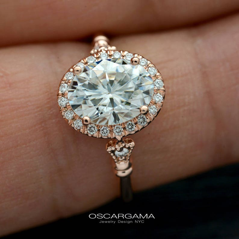 ff3db3727714f Oval halo engagement ring in rose gold with lab grown diamond or Moissanite  Forever One, setting in rose, white or yellow gold