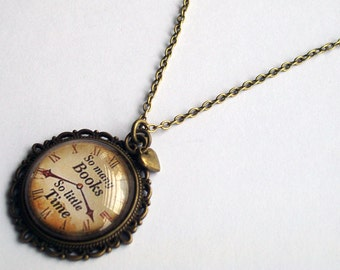Book Lover Necklace ~  So Many Books So Little Time ~ Book Jewelry ~ Book Lover Gift ~Bookworm Necklace