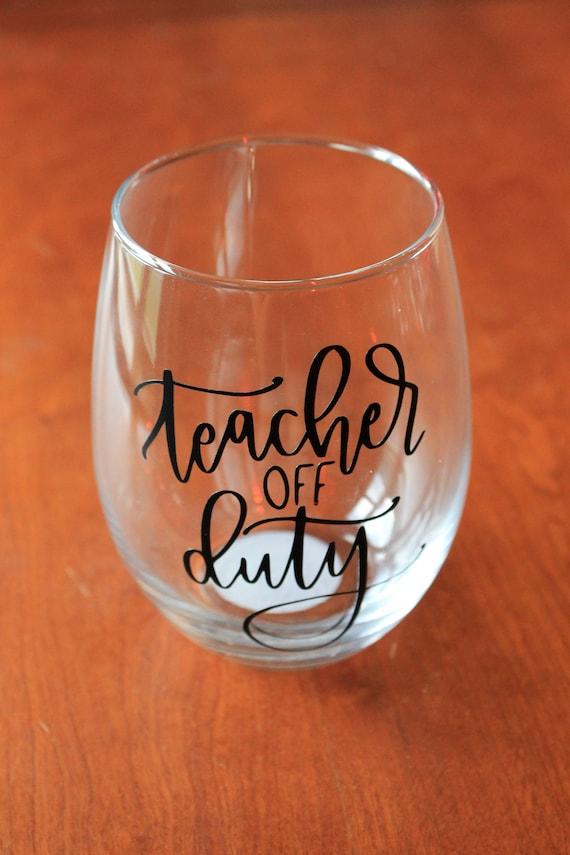 Lehrer aus Pflicht Wein Weinglas Humor lustige Stemless | Etsy