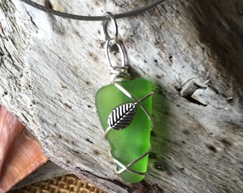 Green Sea Glass with Leaf Necklace